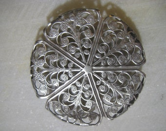 Vintage Round Filigree: 1970s Guyot Ornate Stamping, Silver Plated Brass Jewelry Finding, Unused Old Stock, 45mm, 1 pc.