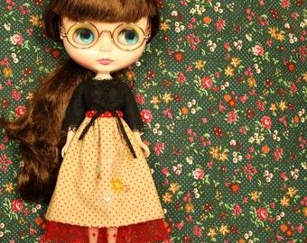 FLOWER BED Vintage Inspired Patchwork Skirt for Neo Blythe