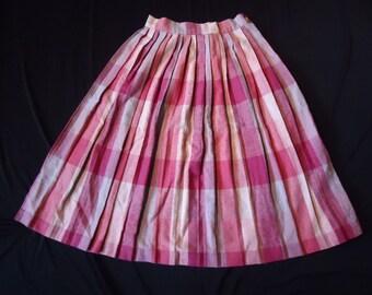 Pink Plaid Pleated Vintage 1980's School Girls Women's Wool Skirt XS S