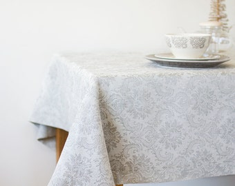 Easter TABLECLOTH - Natural Linen TableCloth - Weddings Tablecloth - Damask Table Cloth - Baby Shower Tableclths - Bridal Shower Decor