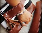 Clutch - black and white Clutch  - Zipper Clutch - Leather clutch