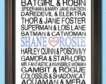 Personalized Subway Art- SUPERHERO Couples- Print 8x10
