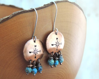Compass Rose Earrings - Travel Jewelry - Adventure Jewelry - Wanderlust - Blue Beaded Earrings