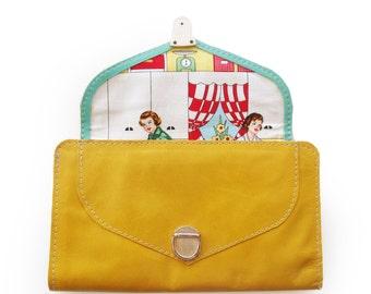 Mustard yellow wallet, women's wallet, leather wallet, yellow purse