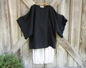 reserved for Annette linen contemporary tunic dress caftan in black ready to ship