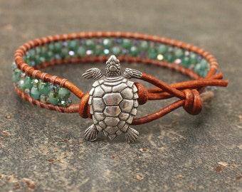 Silver Green Turtle Bracelet Beaded Leather Turtle Jewelry Single Leather Wrap Bracelet