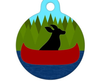 Pet ID Tag - Black Dog Canoeing on a River Pet Tag, Dog Tag