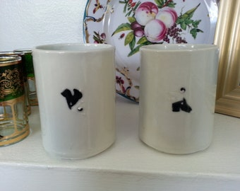 Aikido tumblers with Uke and Nage figures (set of two)