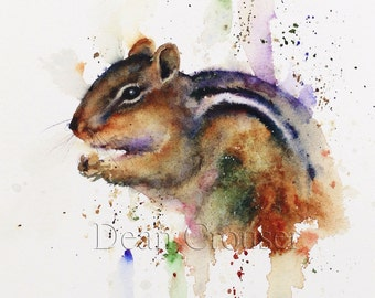 CHIPMUNK Watercolor Print by Dean Crouser
