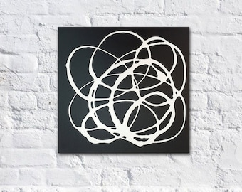 "12""x12"" Original Abstract Painting - Contemporary Wall Art Decor - black and white swirls - modern"