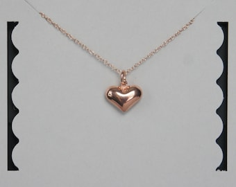 Puffy Heart Necklace, Sterling Silver,  Rose GoLd Puffy Heart, Birthday Gift, Bridesmaid Gift, Valentine's Day Gift