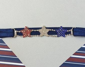 Rhinestone 4th of July Headband- Red, White, Blue Stars Headband- Patriotic Headband- 4th of July Headband- Stars Connector