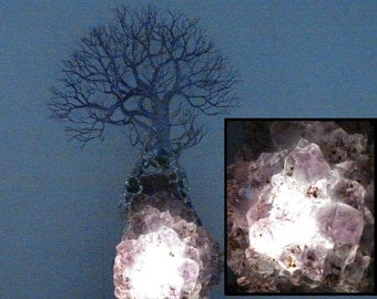 "16"", wire Tree of Life Forest sculpture, Amethyst Cacoxenite Quartz Crystal, LED table lamp, unique office art, Wedding, Anniversary gift"
