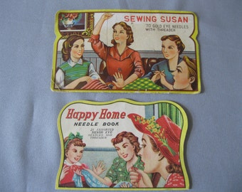 Vintage Sewing Needle Cases - Retro Advertising - Graphic Ladies - 1940s and 1950s  Match Book Case