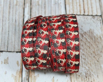 """PDRS Great Outdoors Grosgrain Ribbon 7/8"""" You choose the color Mountain Moose Deer Plaid"""