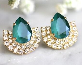 Emerald Earrings Crystal Swarovski earrings Emerald earrings Green white Crystal Bridal earrings Gift for woman, statement Crystal earrings.