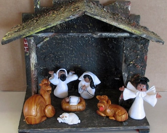 Joyful Nativity Set 8-pieces (Creche) Polymer Clay