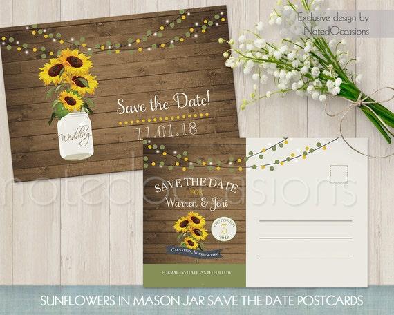Sunflower Save the Date Postcard Printable Rustic mason Jar