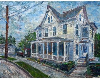 Oil Paint on Stretched Canvas of 18 by 24 by 1.5 in./ original oil painting impressionist landscape art vintage victorian house home