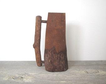 Vintage wooden mug/ rustic wood accent/ antique mug/carved wood/antique 1906/primitive