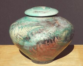 Raku Urn,Crematory Handmade USA,Turquoise,Copper Memorial Woodland Fern Home and Living Classic Pottery Jar Niehaus Art Ceramic Clay
