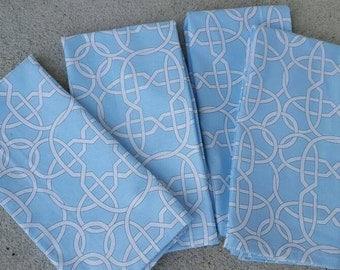 dinner cloth napkins-blue and white lattice print