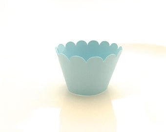 12 Light Baby Blue Scalloped MINI Cupcake Wrappers