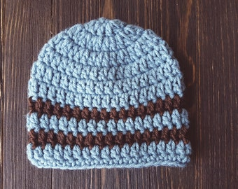 Newborn Hat, Boys Hat, Crochet Hat, Beanie Baby Hat, Blue and Brown Boy Hat, Photography Prop, Boys Beanie Winter Hat