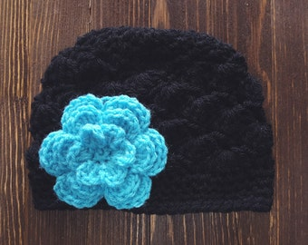 Girls Hat, Black and Turquoise Girl Hat, Newborn Girl Hat, Crochet Baby Hat, Crochet Girls Hat, Baby Girl Hat, Baby Hat for Girls