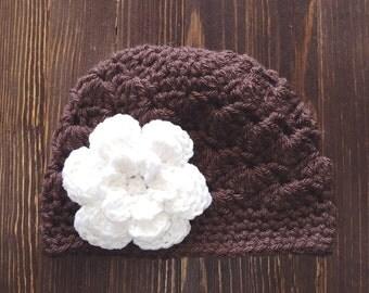 Girls Hat, Brown and White Girl Hat, Newborn Girl Hat, Crochet Baby Hat, Crochet Girls Hat, Baby Girl Hat, Baby Hat for Girls