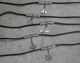 Men's Leather Airplane Motorcycle Sailboat Anchor Helm CHOOSE YOUR CHARM Beaded Necklace