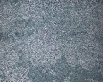5+ yards green and white brocade fabric