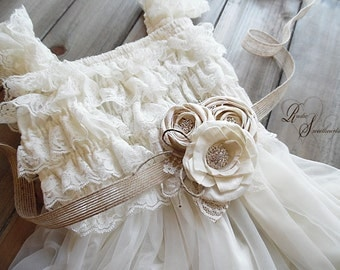 Will ship in 4 weeks ~~~ Sash, Sola flower, ivory cotton roses, burlap, lace, glass rhinestones, jute ribbon.