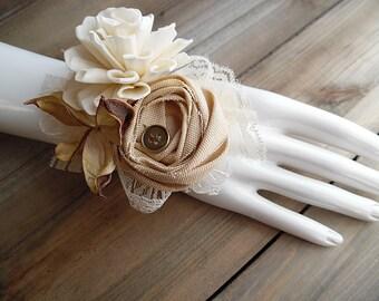 Ready to Ship ~~~ Sola Flower Wrist Corsage, Tan Cotton Rose, Cotton Pod, Jute Ribbon, Lace