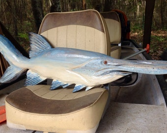 """Paddlefish 40"""" unique chainsaw wood carving spoonbill freshwater river fishing gray and blue home decor lake lodge sculpture art wall mount"""