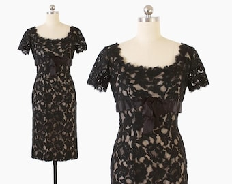Vintage 50s LACE Dress / 1950s Black NUDE Illusion Bombshell Wiggle Party Dress S