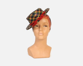 Vintage 40s TILT HAT / 1940s Woven Jewel Tone Cello & Petersham Toy Hat with Velvet Bow and Strap