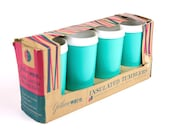 NOS Vintage Turquoise Drinking Cups with Original Box, Drinking Glasses, Mid Century Mugs, Tumblers, Gothanware, Plastic Cups, New Old Stock