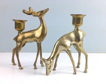 Vintage Brass Deer Candle Holders, Brass Figurines, Brass Animals, Brass Reindeer, Vintage Christmas Decoration