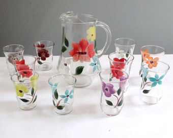 Vintage Painted Glass Pitcher with Handpainted Flowers, Painted Juice Glasses Set of 10 Glasses / Orange Juice Pitcher / Mint Julep Pitcher