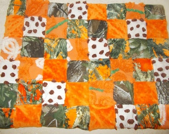 Camoflauge and orange baby quilt, pet bed, doll quilt, lovey or security blanket, vintage chenille,camo fabric,  minkee, fleece,