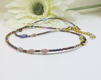 Wrap Bracelet in Purples, Convertible Necklace/Bracelet, 3 Wrap Bracelet, Seed Bead and Swarovski Crystal Wrap Bracelet, Perfect Gift