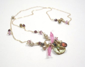 Keishi Pearl Necklace w Pink Topaz & Red Garnet, Green Gold Silk Necklace, Vermeil Charm Necklace in Olive Green w Silk Ribbon and Gemstones