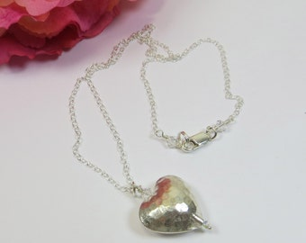 Silver Heart Necklace; Fairtrade Karen Silver Hammered Heart Pendant with Sterling Silver and Swarovski Crystal, Simple Heart Necklace