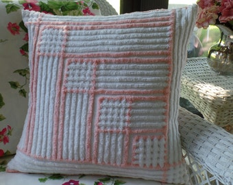 SALE Large Peach Chenille Pillow Cover, Chenille Pillow Sham, Toss Pillow Cover, Vintage Chenille, Pillow Cover, Chenille Pillow Sham