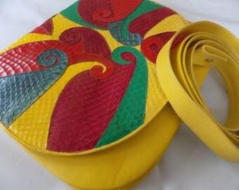 Vintage '70's Andrea Pfister for Neiman Marcus designer canary yellow and multicolor purse, Italian designer