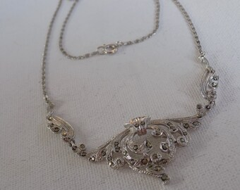 Vintage necklace, Art Nouveau style silver and marcasite signed necklace with fine grecian chain,