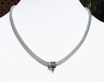 5mm Silver Mesh Necklace with Fancy Bail and Fixings