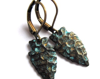Tribal Spear Head Earrings Black and Blue Patina Fashion Jewelry