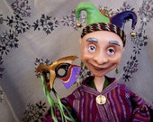 Harlequin Clown Jester Cloth and Clay Doll: Hugo